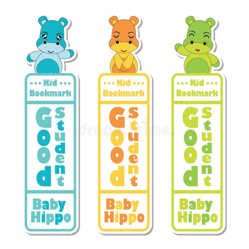 Bookmark label cartoon with cute baby hippos on colorful background stock illustration