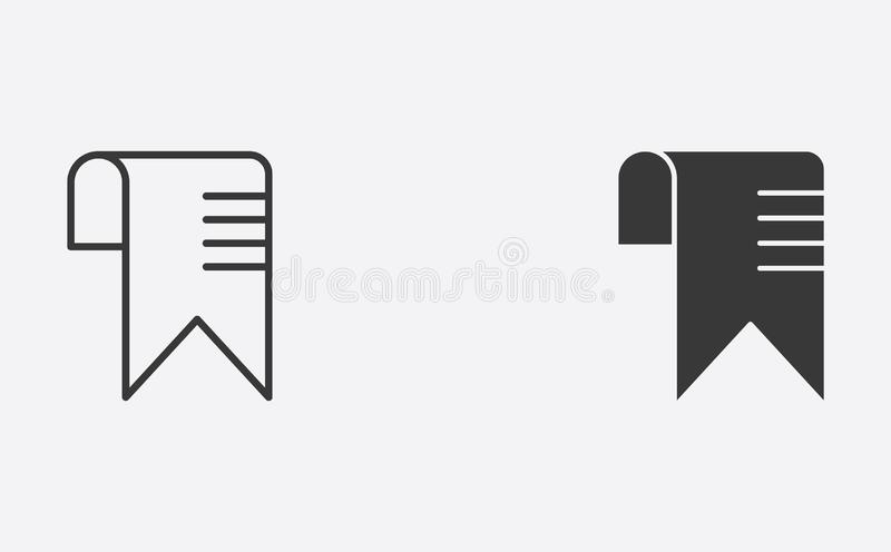 Bookmark outline and filled vector icon sign symbol royalty free illustration