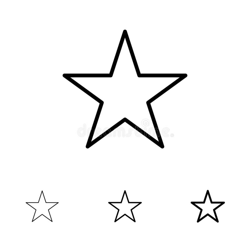 Bookmark, Stern, Medien mutig und dünne schwarze Linie Ikonensatz lizenzfreie abbildung
