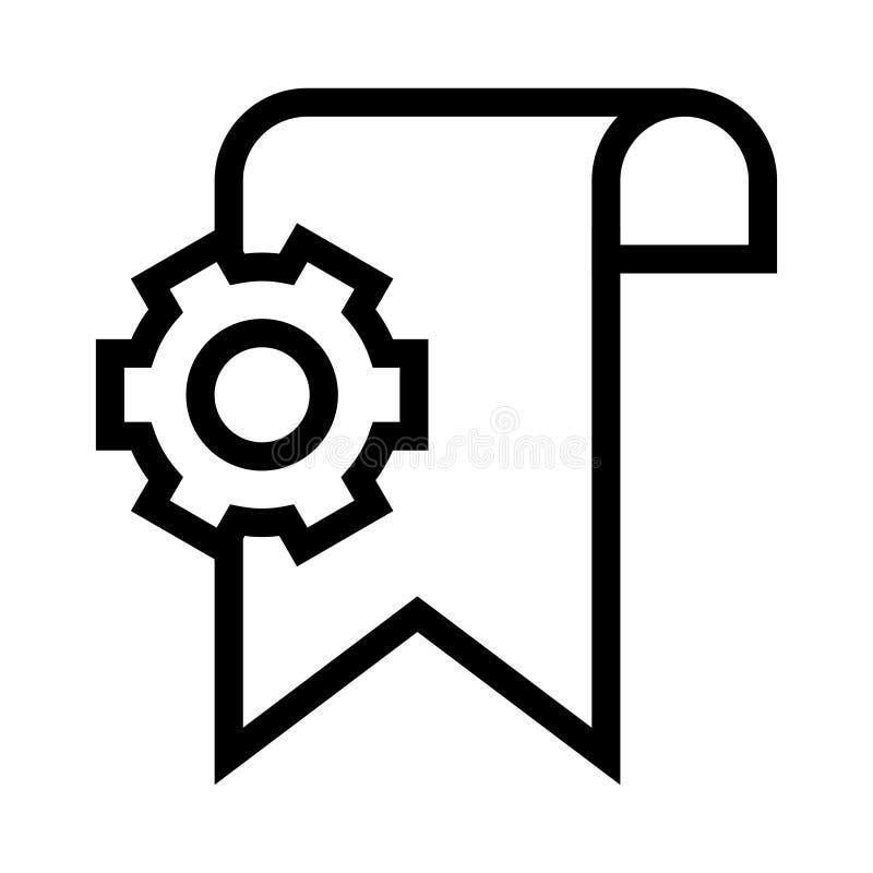 Bookmarkeinstellungs-Vektorlinie Ikone lizenzfreie abbildung