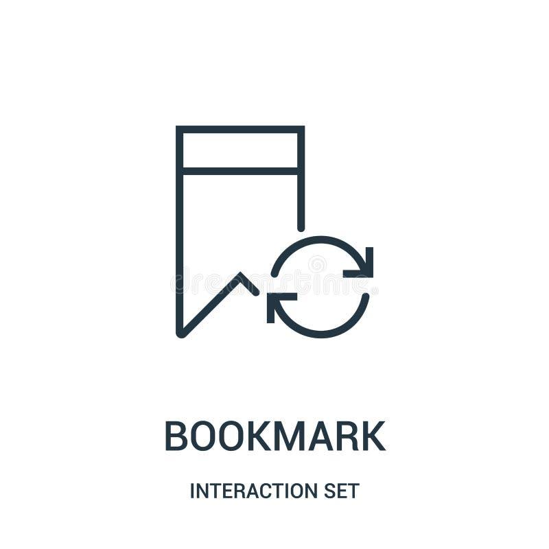 Bookmarkikonenvektor von der Interaktionssatzsammlung D?nne Linie Bookmarkentwurfsikonen-Vektorillustration stock abbildung