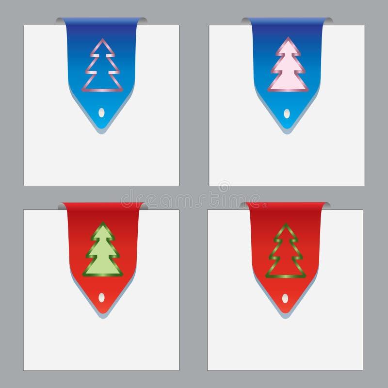 bookmarks тема рождества цветастая бумажная иллюстрация вектора