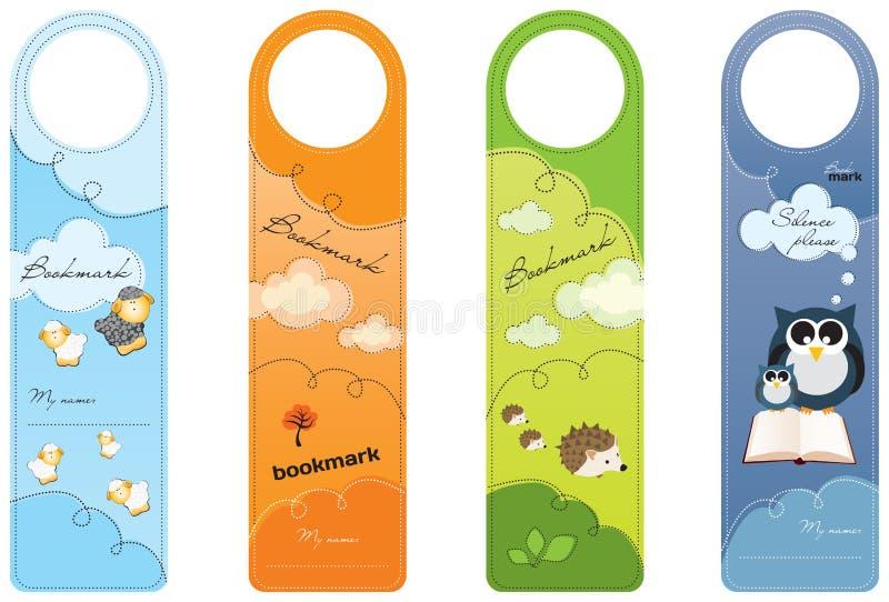 Bookmarks for children, colorful stock illustration