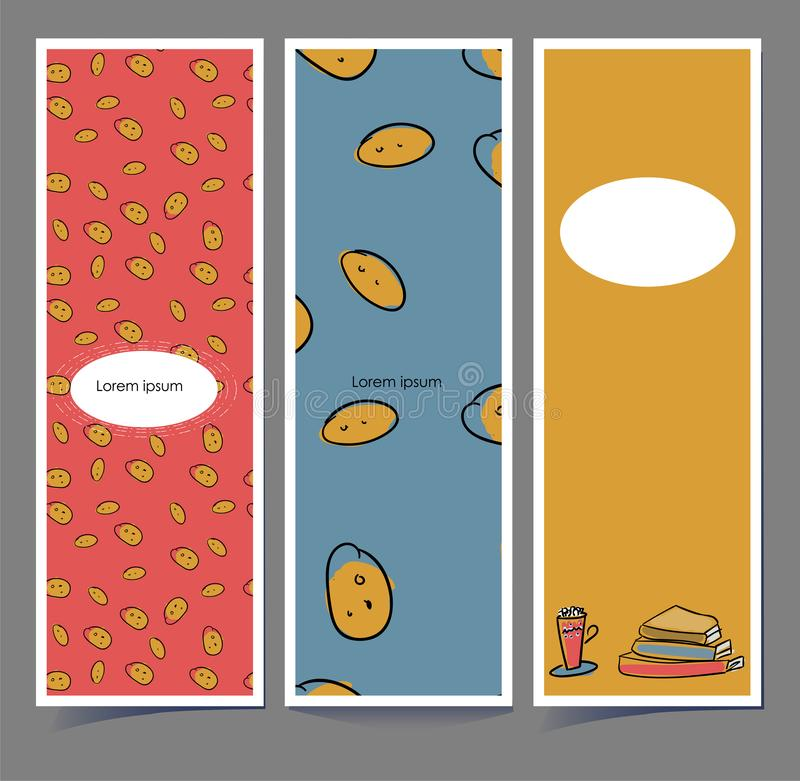 Bookmarks in sketch style. Hugge cards. Pattern of cookies on a red or blue background. Books and a cup of tea on. Mustard color. Contour of careless hand stock illustration