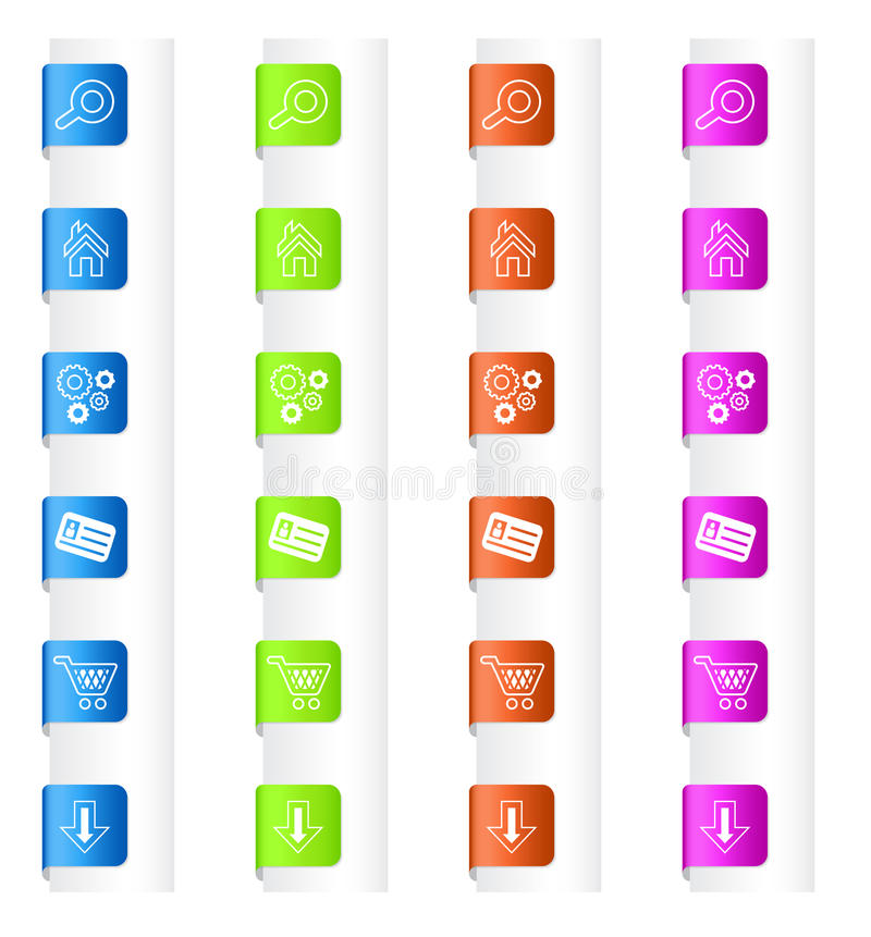 Bookmarks With System Icons In Four Colors Stock Photos