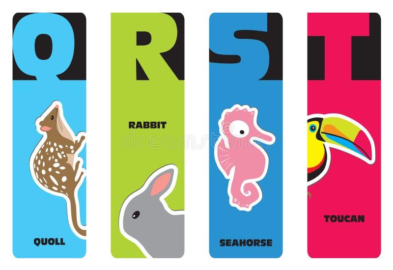 Bookmarks - zwierzęcy abecadło ilustracji