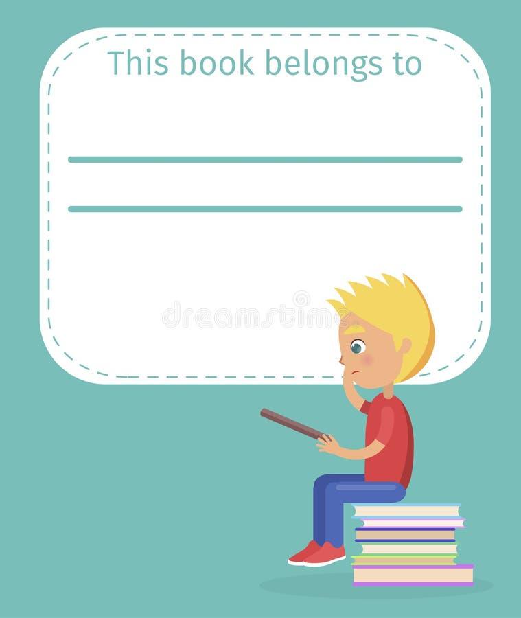Bookplate met Naam Dit Boek behoort tot en Jongen royalty-vrije illustratie