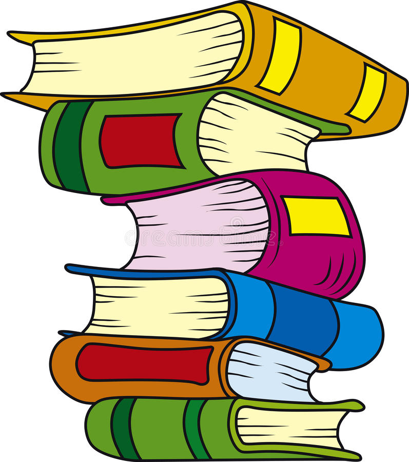 Books. Vector illustration of six books in stack