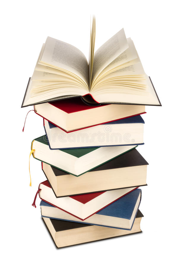 Books. A high stack of books royalty free stock photos