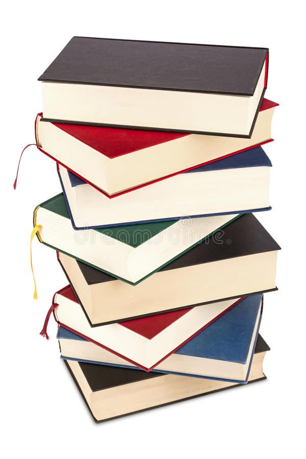 Books. A high stack of books stock image