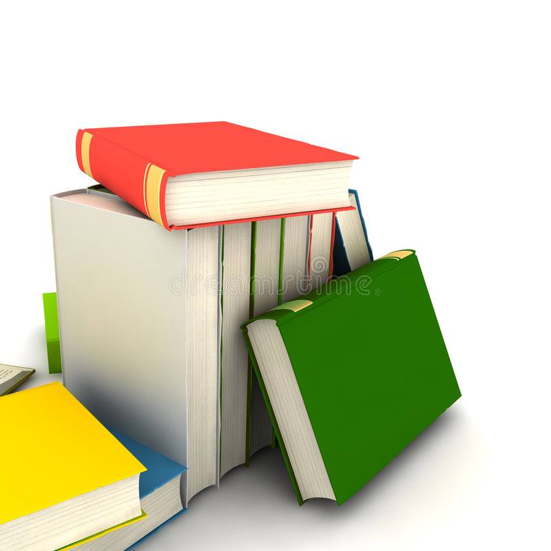 Books. Pile of books - isolated on white background - photorealistic 3d render stock photos