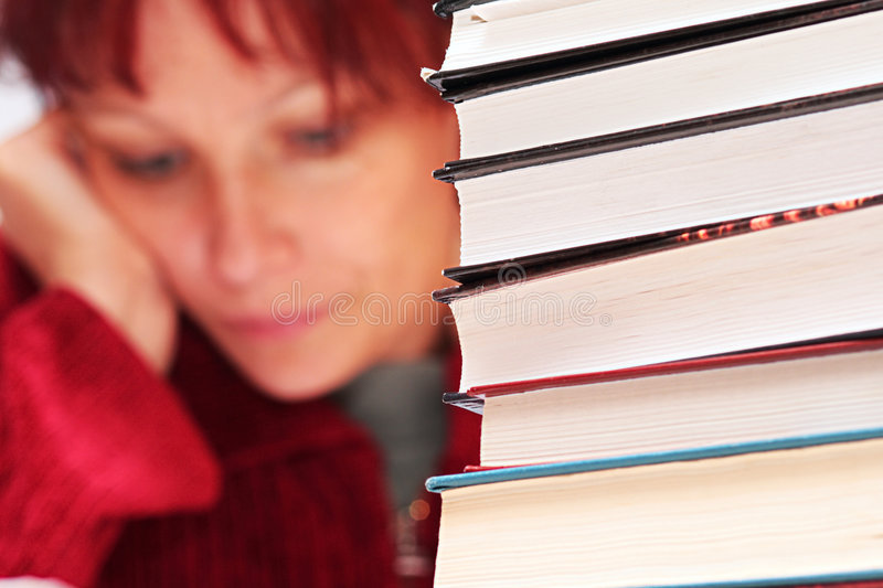 Books. Focus on a foreground stock photography