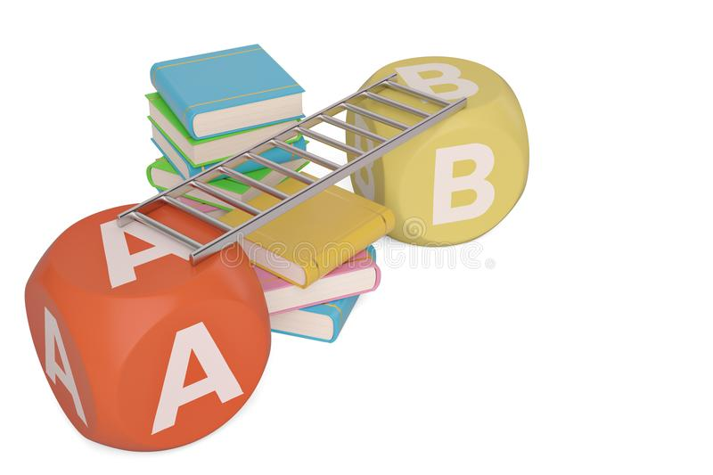 Books with abc cubes on white background.3D illustration. royalty free illustration