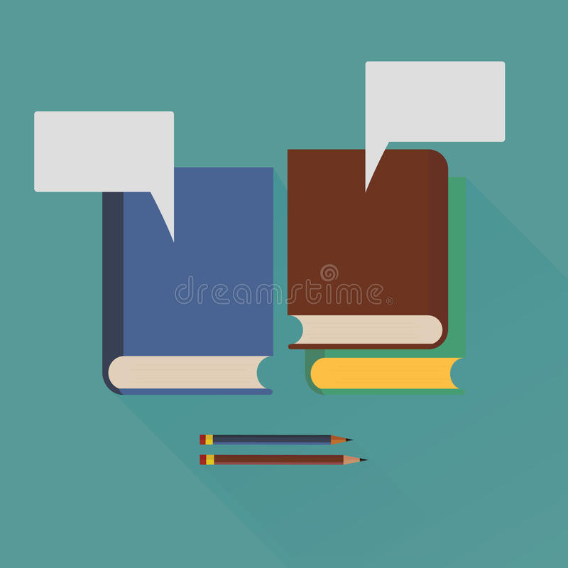 Free Books And Pencils With Speech Balloons Icon Over And Long Shadow Effect Vector. Stock Photo - 50757400