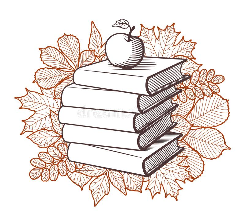 Books Apple And Autumn Leaves Vector Drawing Stock Vector Illustration Of Hand Education 156313753