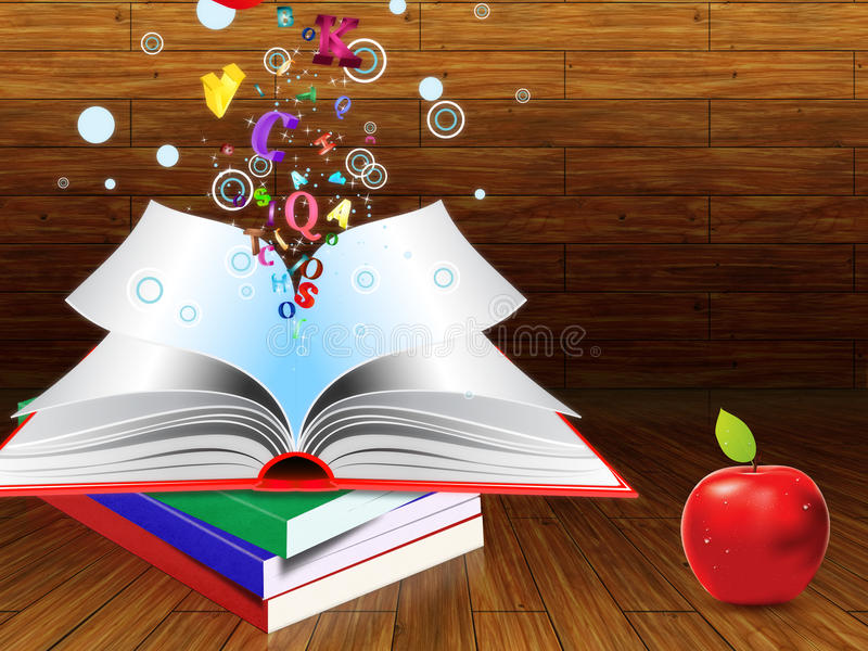 Download Books and apple stock illustration. Illustration of learn - 33099021