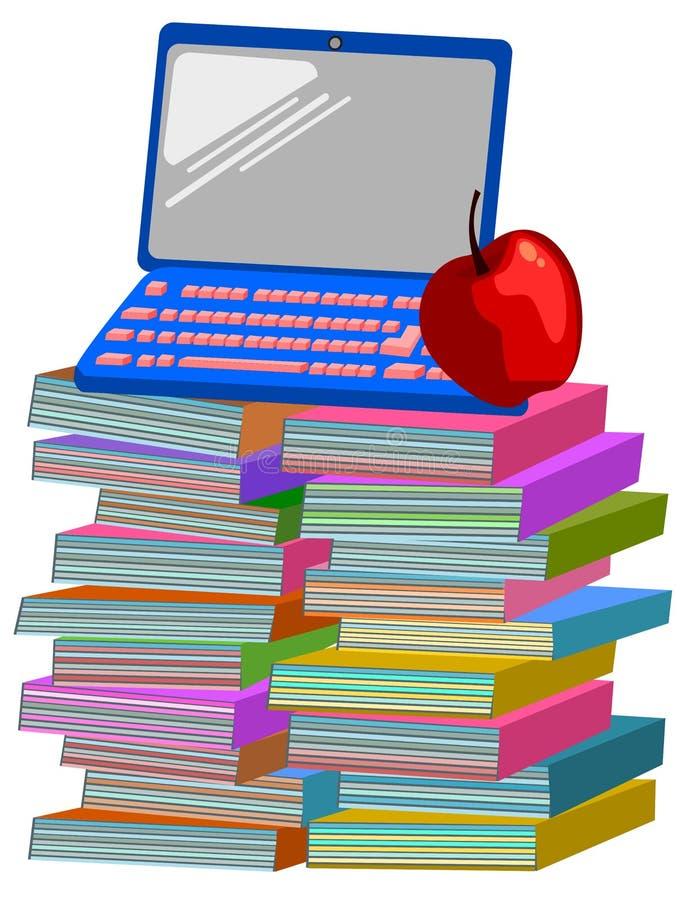 Books apple laptop computer royalty free illustration
