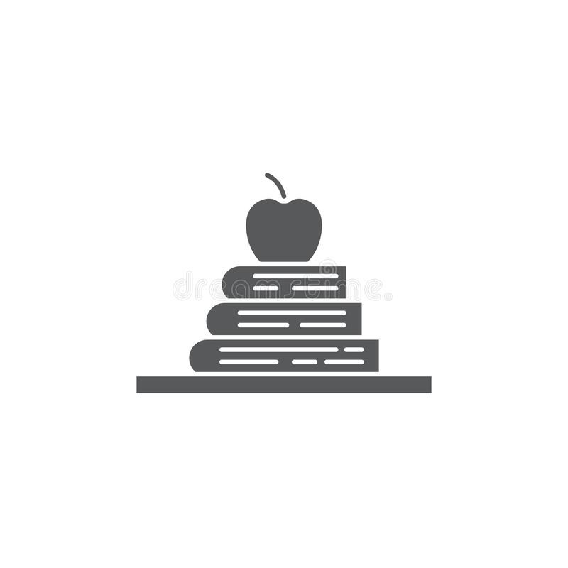 Books and apple on a shelf vector icon symbol isolated on white background stock illustration