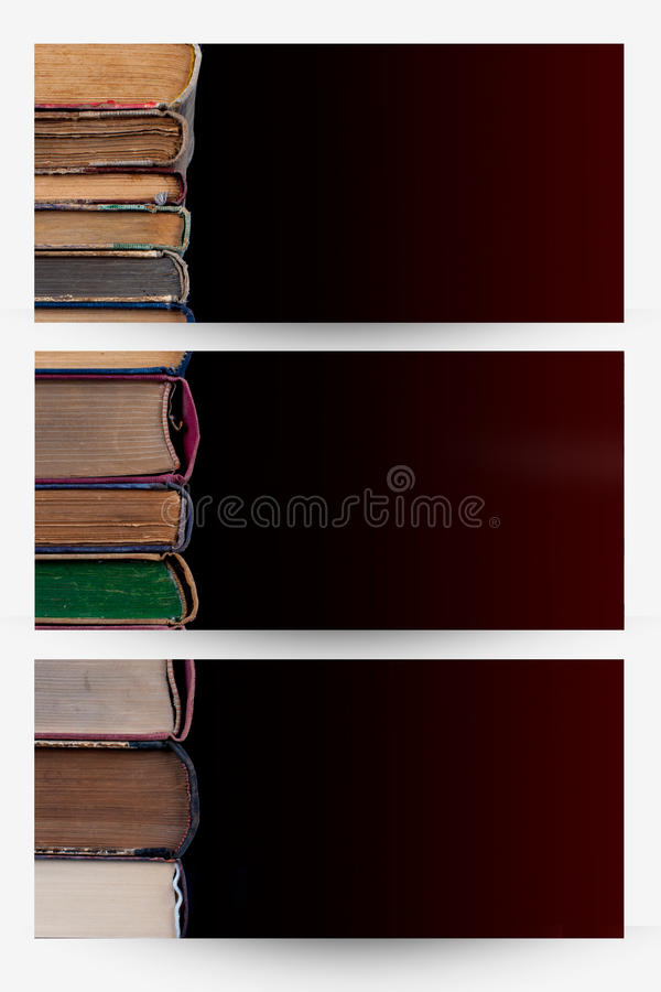 Books banners. Books in a row on old paper - banners stock image