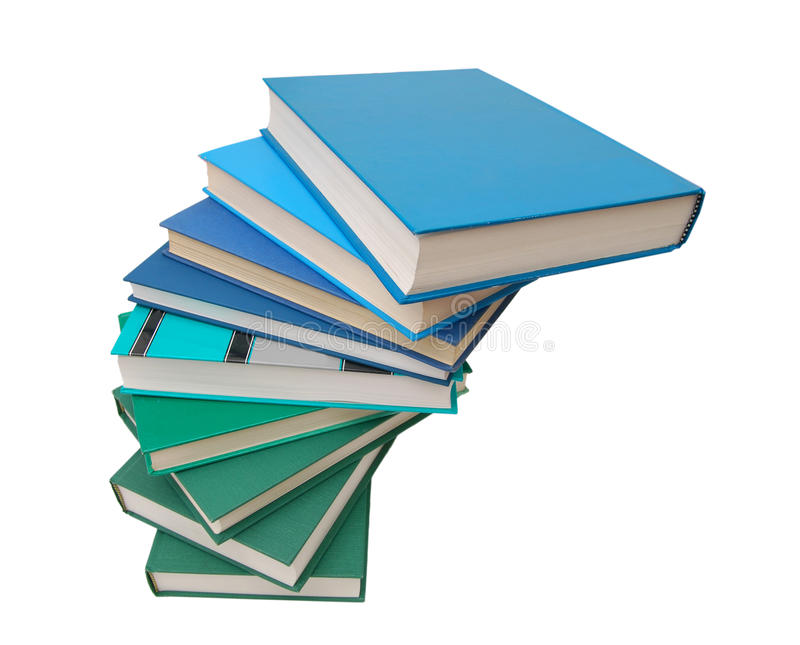 Books blue education. Books lie on each other. with copy-space, small depth to sharpness royalty free stock photos
