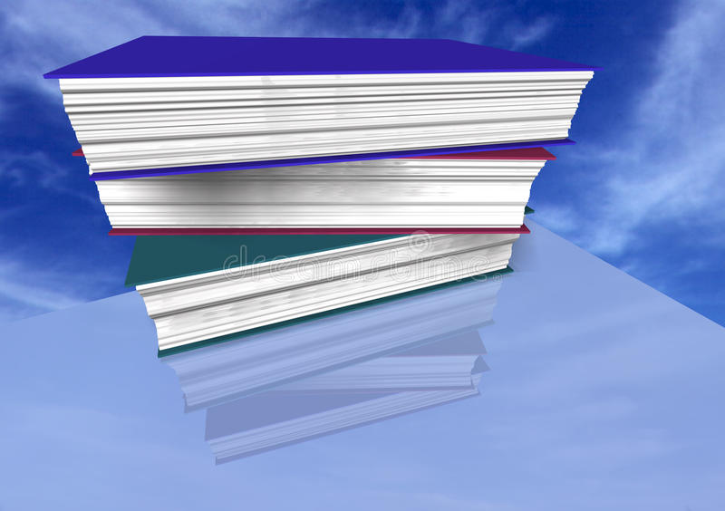 Books on blue sky royalty free illustration