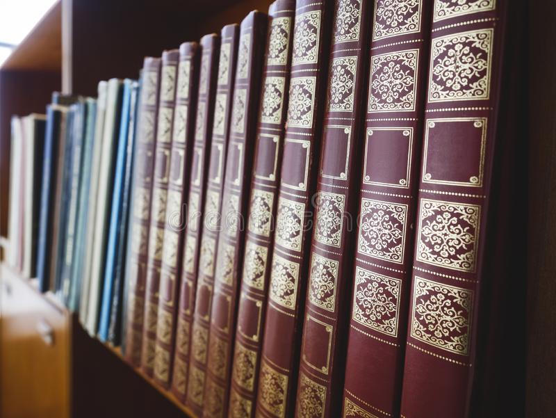 Books on Bookshelf Old books historical Education Library royalty free stock images