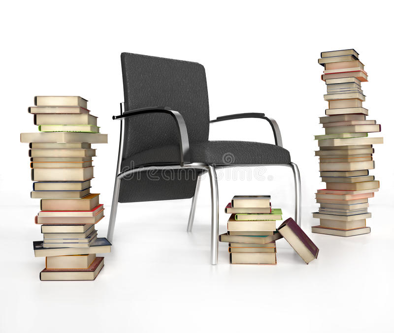 Books and chair. On white background royalty free illustration