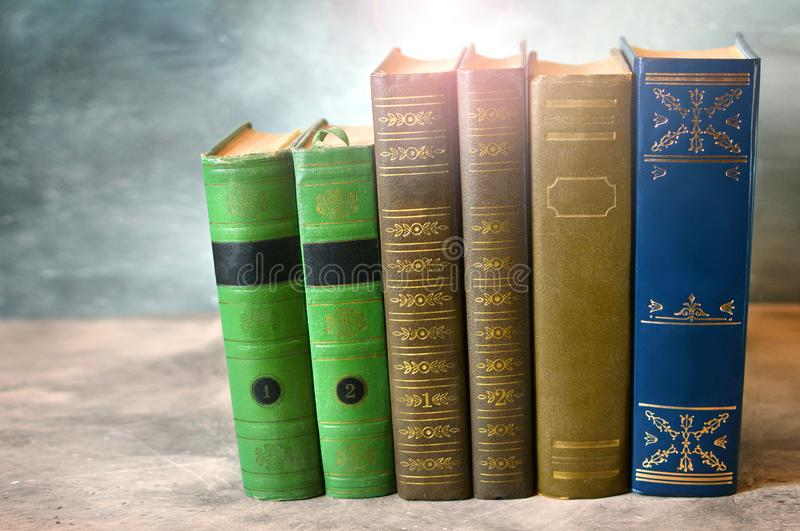 Books close-up. Classic literature. Knowledge is power concept royalty free stock photos