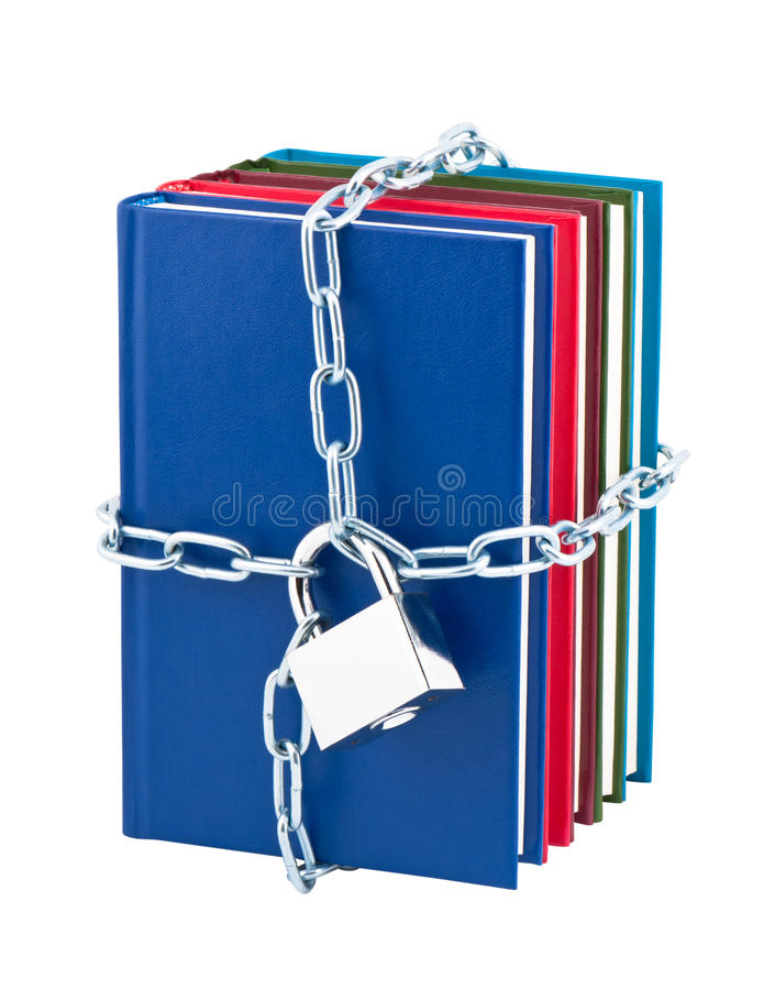 Free Books Closed On Padlock And Chain. Stock Photo - 22303600