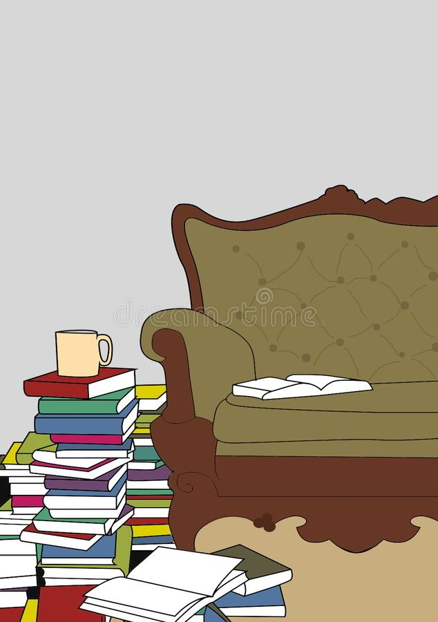 Books piled up by a sofa. Books and coffee or tea cap piled up by a sofa royalty free illustration