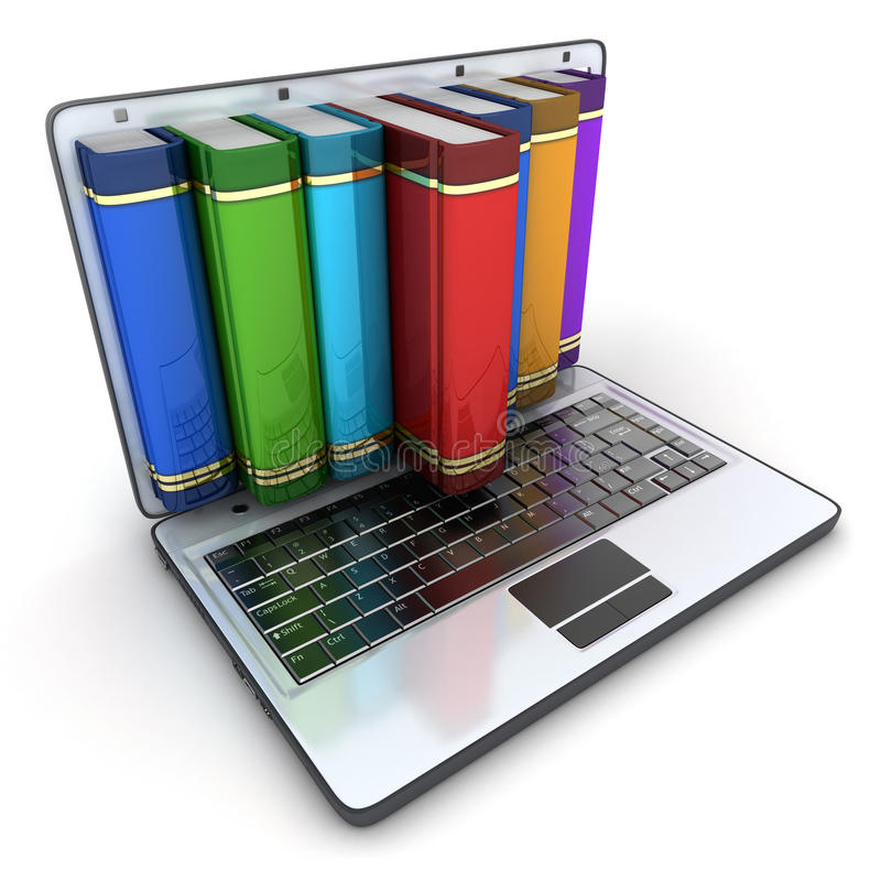 Books and computer. (done in 3d, isolated stock illustration