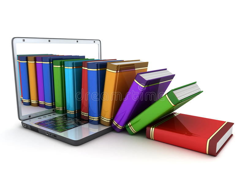 Books and computer. On white background (done in 3d royalty free illustration
