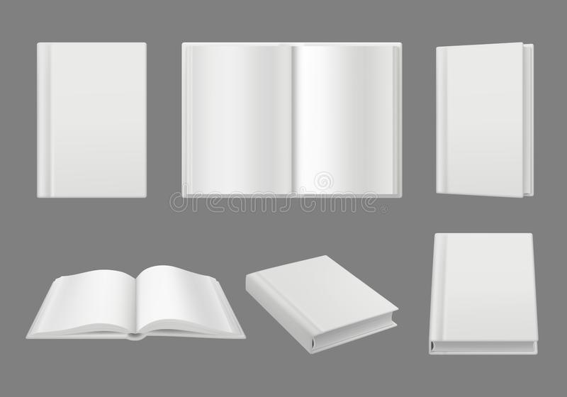 Books cover template. Clean white 3d pages isolated brochure or magazine vector realistic mockup vector illustration