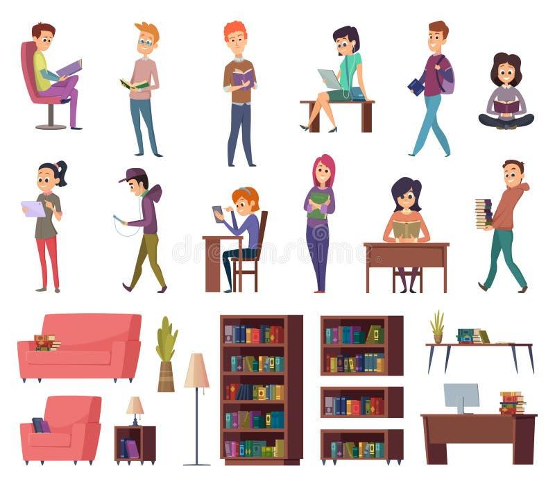 books deltagare Folk i arkivläsning i illustrationer för vektor för tecken för bibliothequeskolakunskap royaltyfri illustrationer