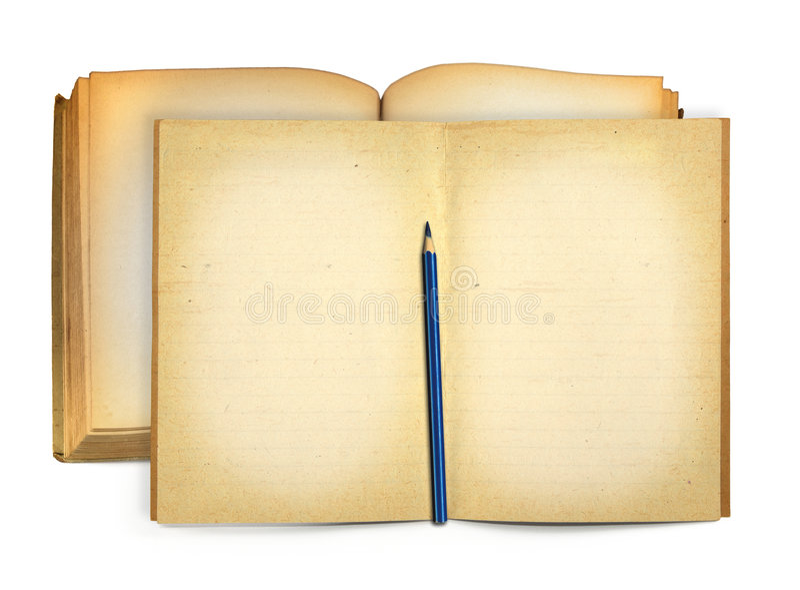 books den gammala öppna blyertspennan royaltyfria bilder