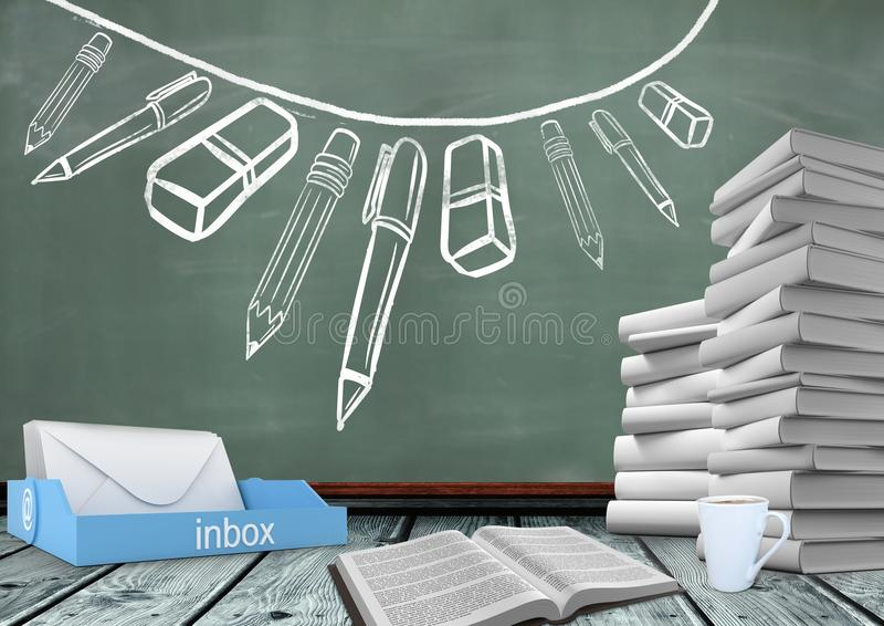 Books on Desk foreground with blackboard graphics of stationery. Digital composite of Books on Desk foreground with blackboard graphics of stationery stock illustration