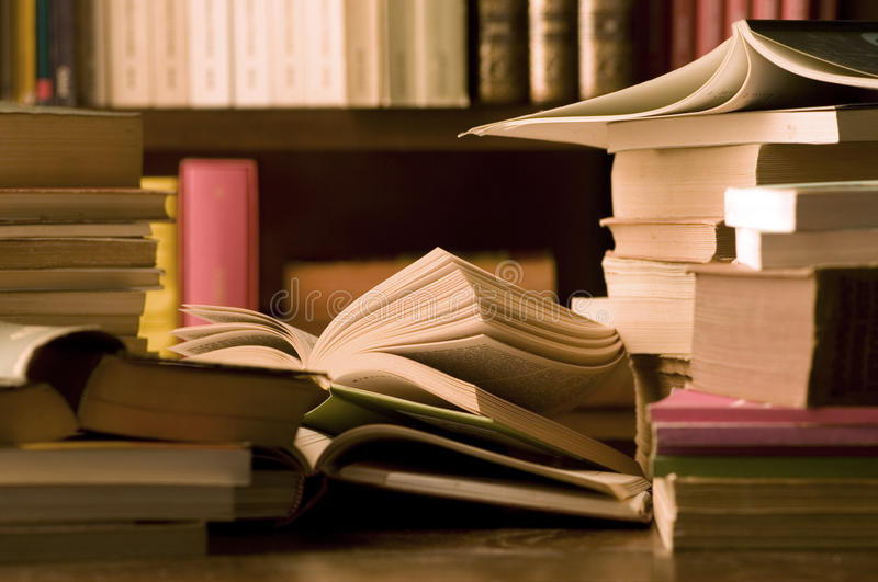 Download Books on desk and library stock image. Image of desk - 17708939