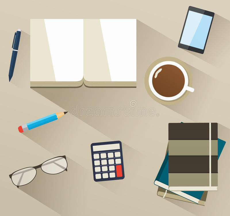 Books on the desktop with helper tools. Set of flat business icons stock illustration