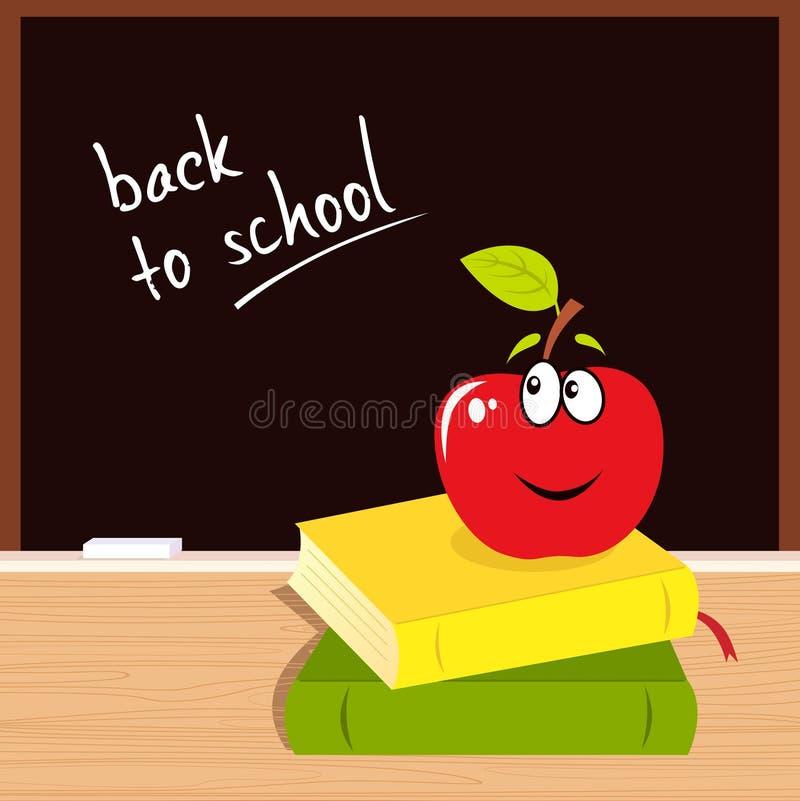 books det tillbaka svarta brädet för äpplet skolan till vektor illustrationer