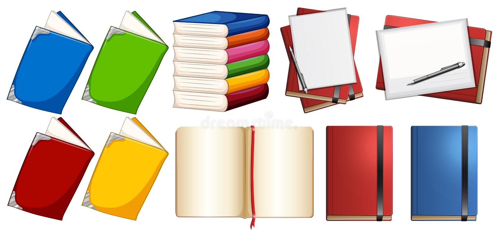 Books with different color covers stock illustration