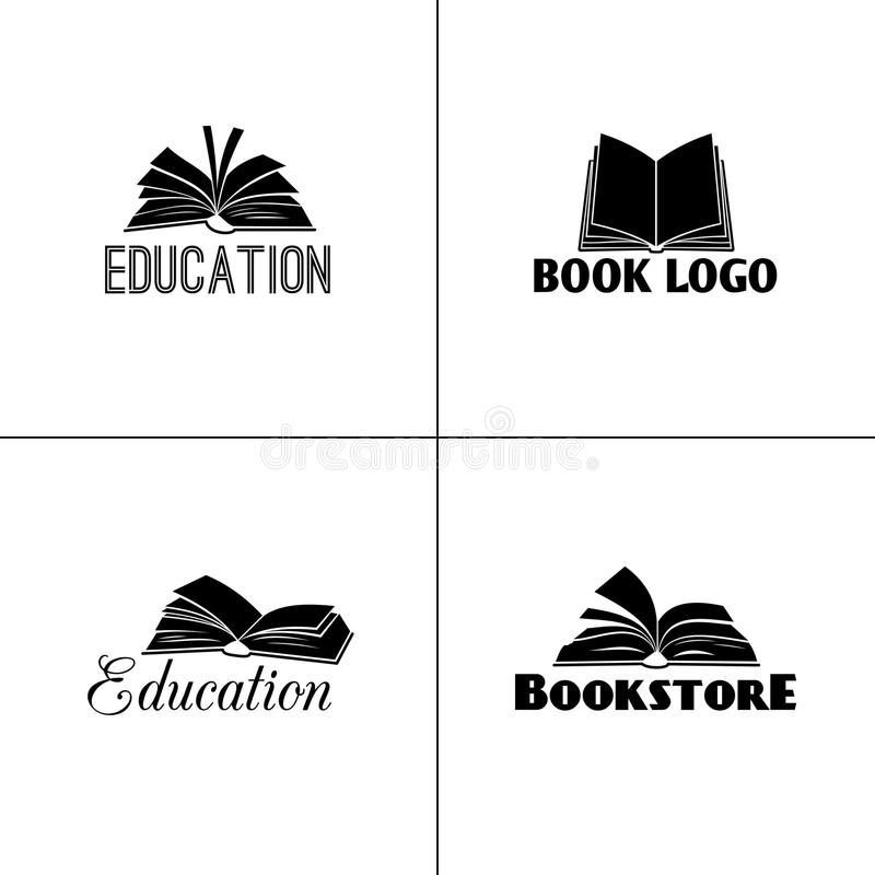 Books and education logo set. Paper book black emblems designs for learning or school projects. Vector illustration stock illustration