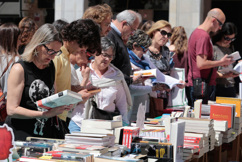 Books fair in mallorca 012. Books on a street sale market stand during the books day in the island of Mallorca, Spain stock photography