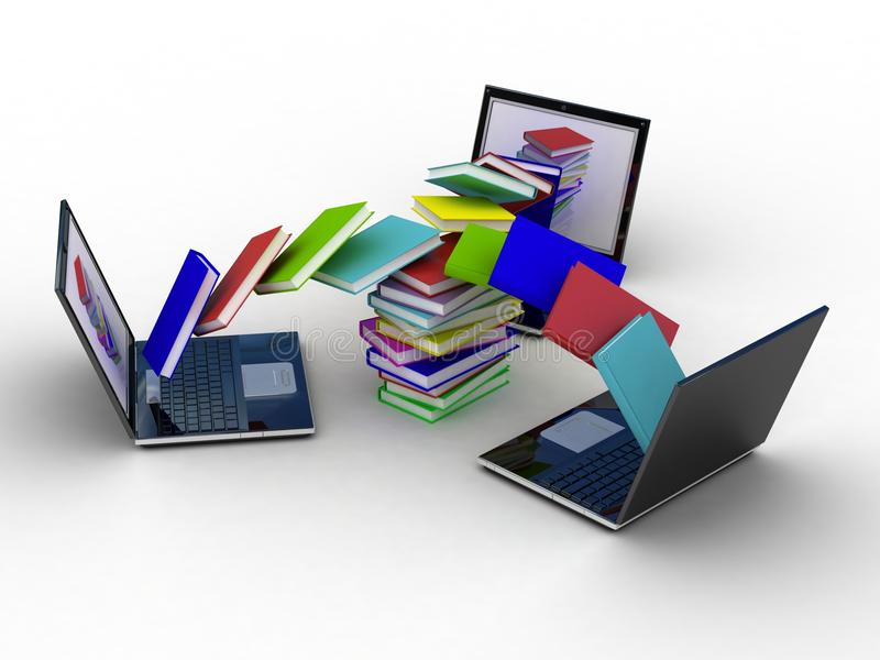 Books fly into your laptop vector illustration