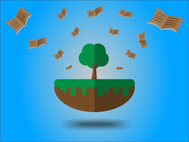 Books flying from large tree. Energy saving concept for earth day stock illustration