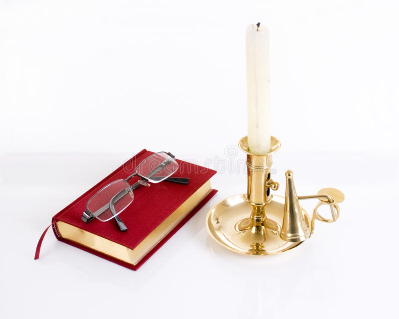 Download Books And Glasses With Candle Royalty Free Stock Images - Image: 32022389