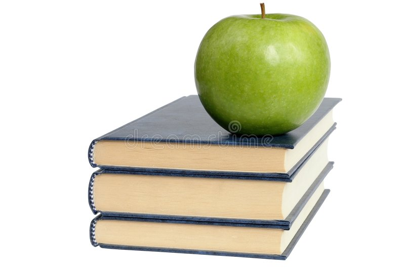 Download Books and Green Apple stock photo. Image of school, diet - 159642