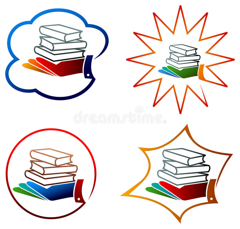 Books with hand vector illustration