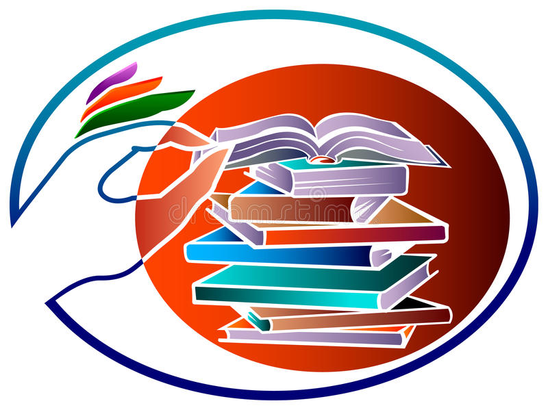 Books with hand stock illustration