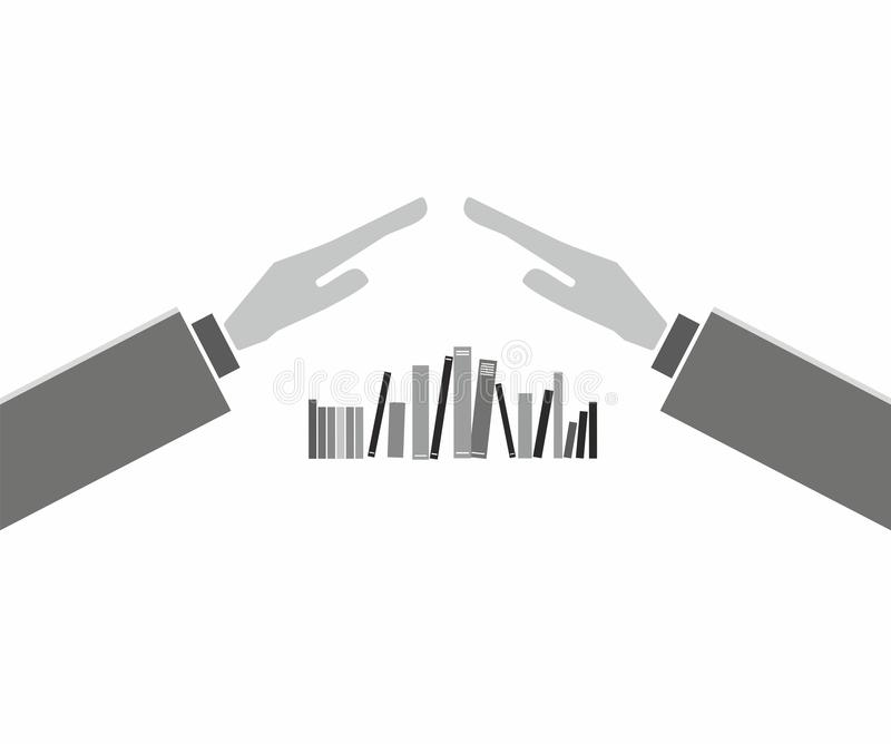 Books with hands. On the white backdrop - concept illustration royalty free illustration