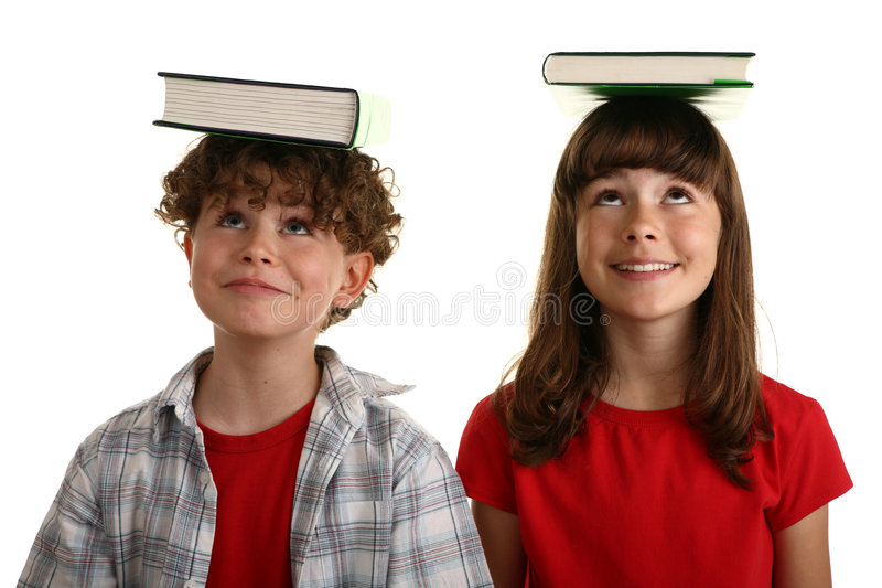 Download Books on head stock photo. Image of couple, isolated, girl - 5864140